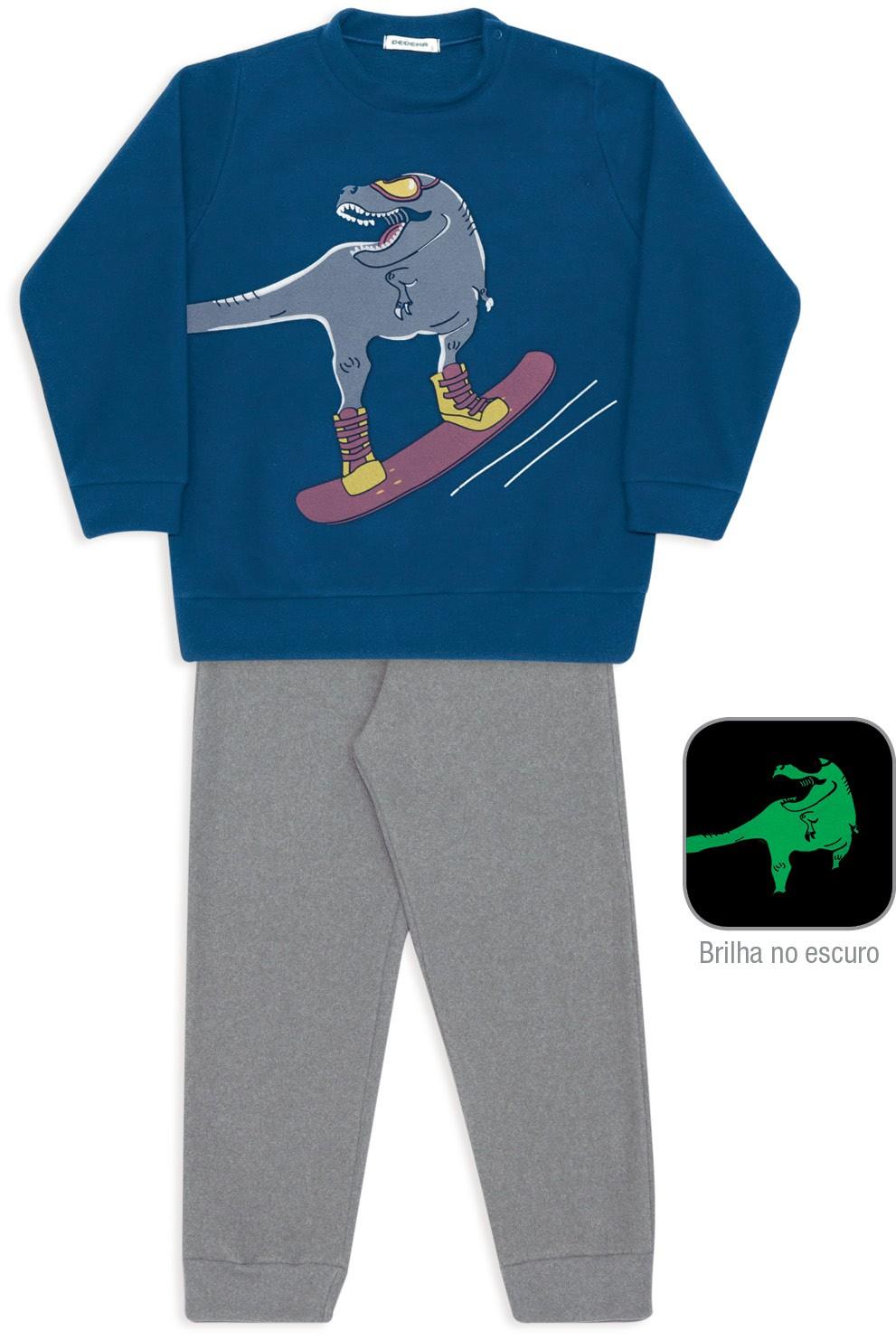 Pijama de Soft Infantil Menino Dino Snowboard