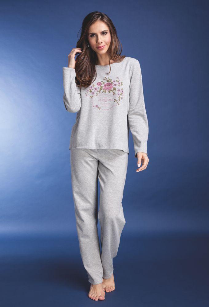 Pijama Feminino em Moletinho Mescla