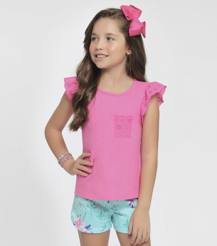 Pijama Infantil Manga Curta Azaleia