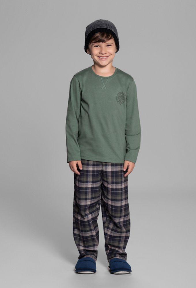 Pijama Infantil Manga Longa Musgo