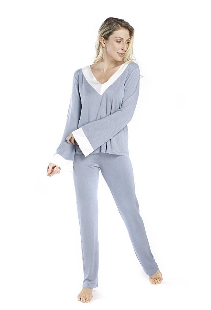 Pijama Inverno Azul com Cetim Off White Feminino