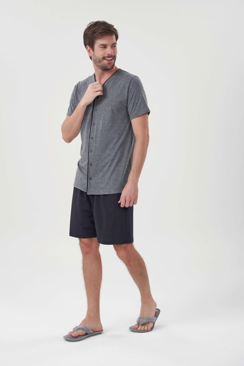 Pijama Manga Curta com Abertura Masculino