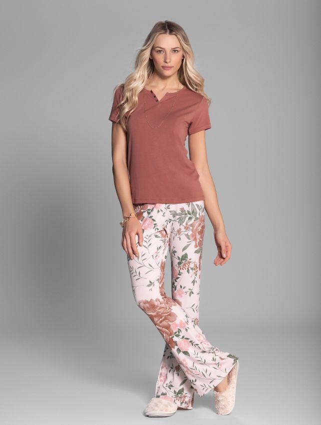 Pijama Manga Curta Flores de Inverno