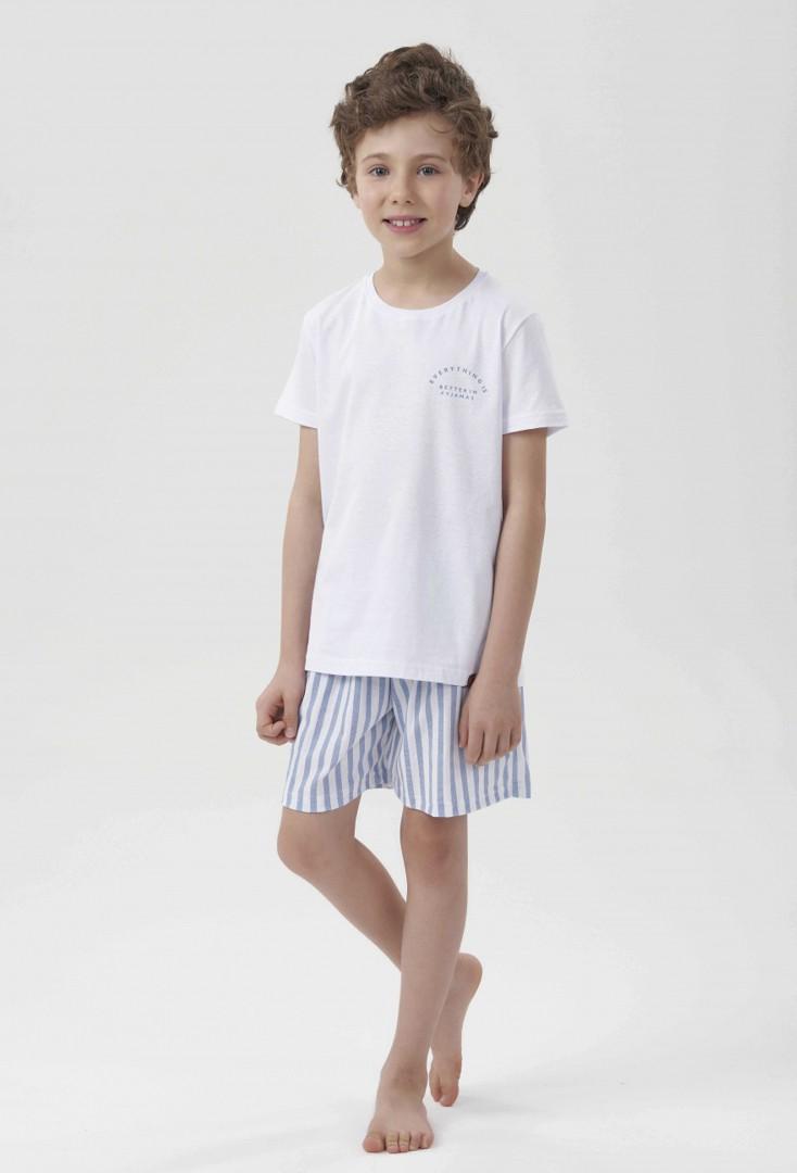 Pijama Manga Curta Infantil Menino Stripes