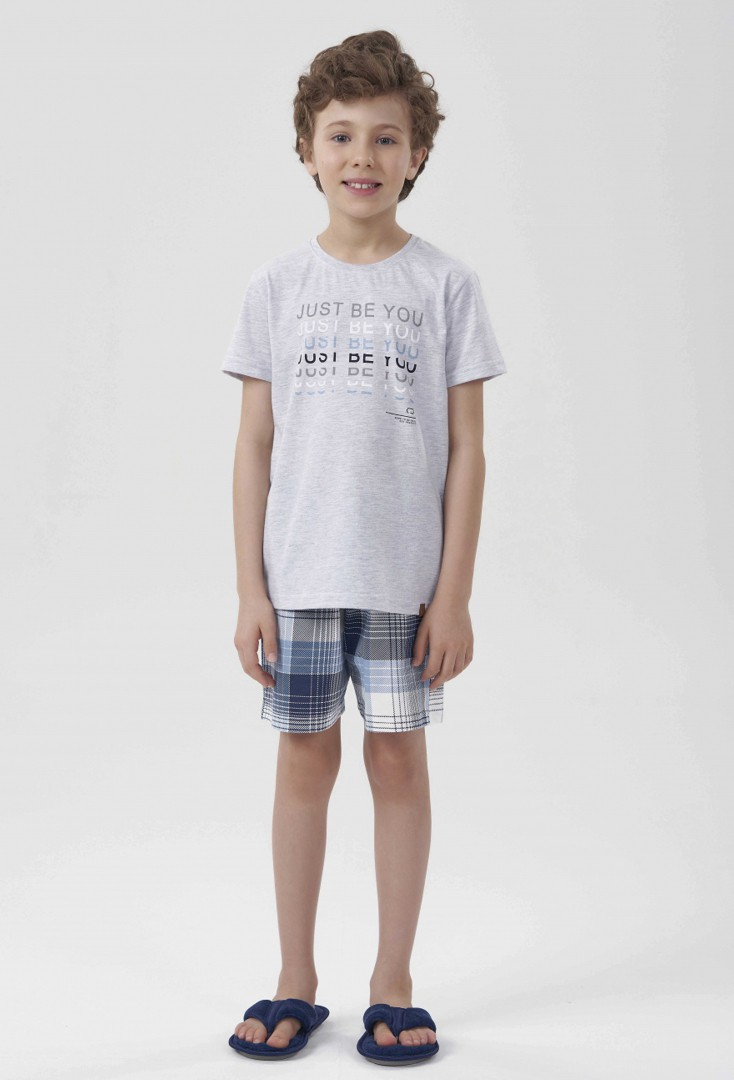 Pijama Manga Curta Infantil Mescla