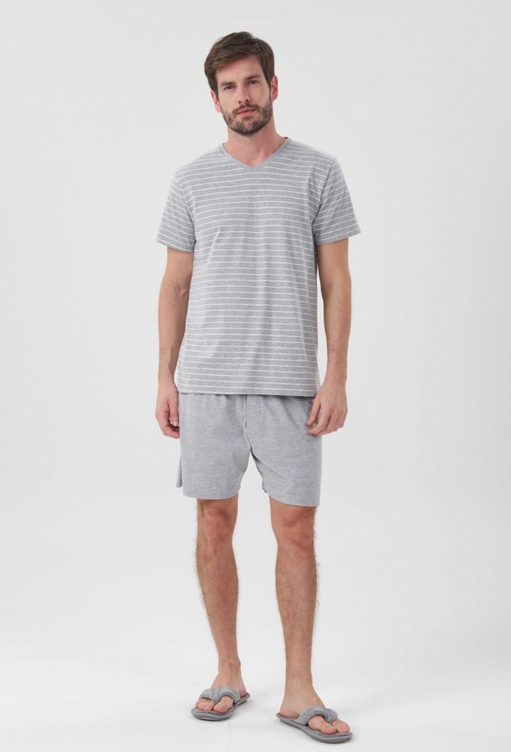 Pijama Manga Curta Listras Mescla