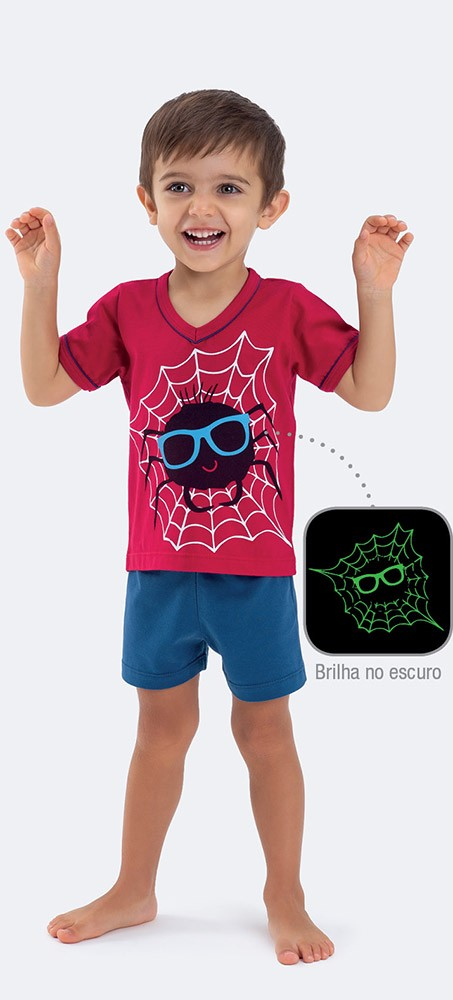 Pijama Manga Curta Meia Malha Aranha
