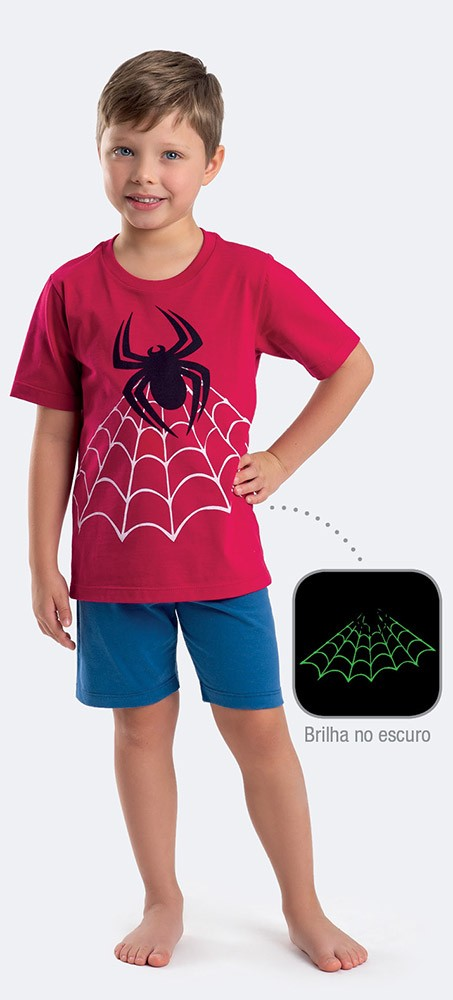 Pijama Manga Curta Meia Malha Aranha Menino
