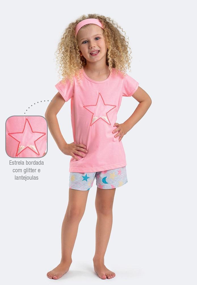 Pijama Manga Curta Menina Brilha Estrelinha