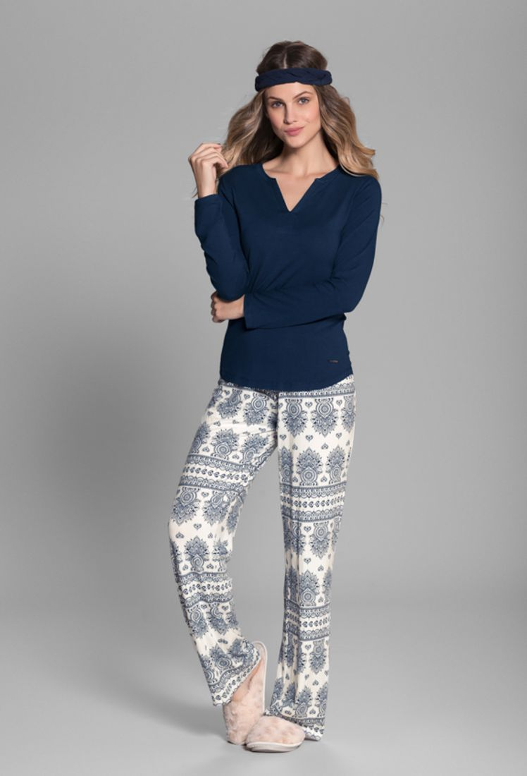 Pijama Manga Longa Azulejo