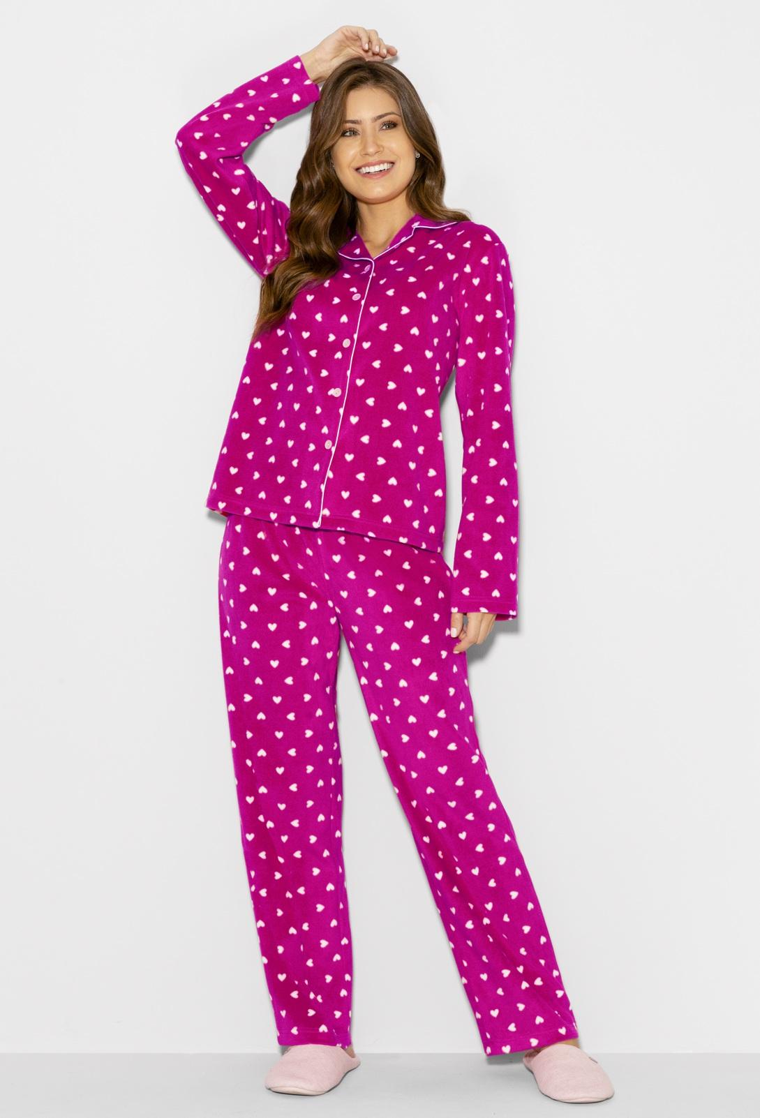 Pijama Manga Longa Botões Soft Pink Hearts Any Any