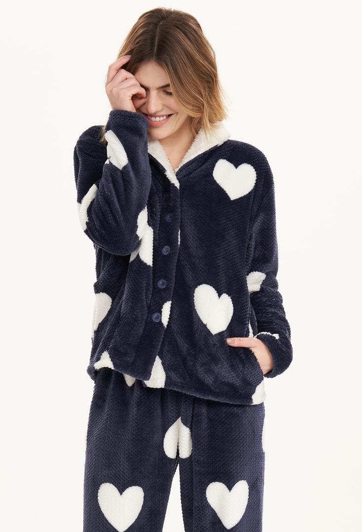 Pijama Manga Longa com Abertura Fleece Cor com Amor