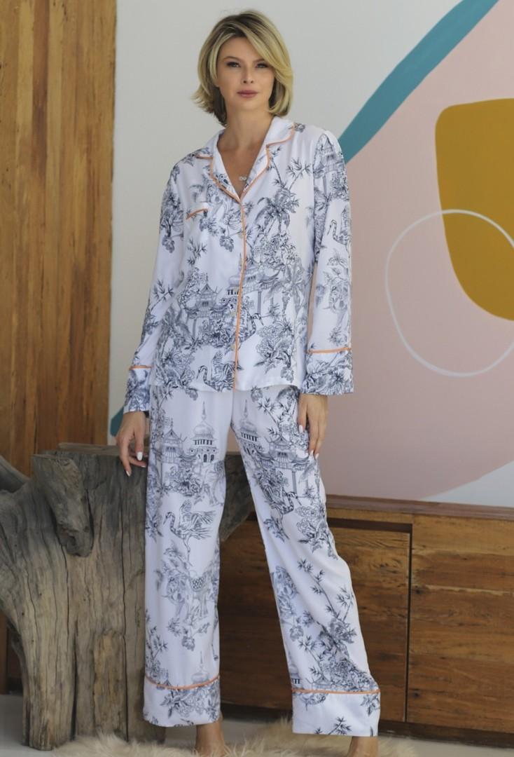 Pijama Manga Longa com Botões Branco