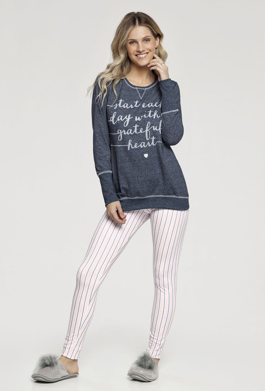 Pijama Manga Longa com Legging Listrada