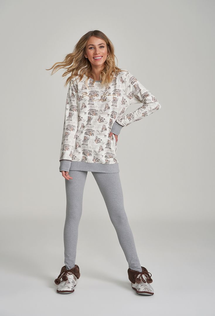 Pijama Manga Longa com Legging Ursos