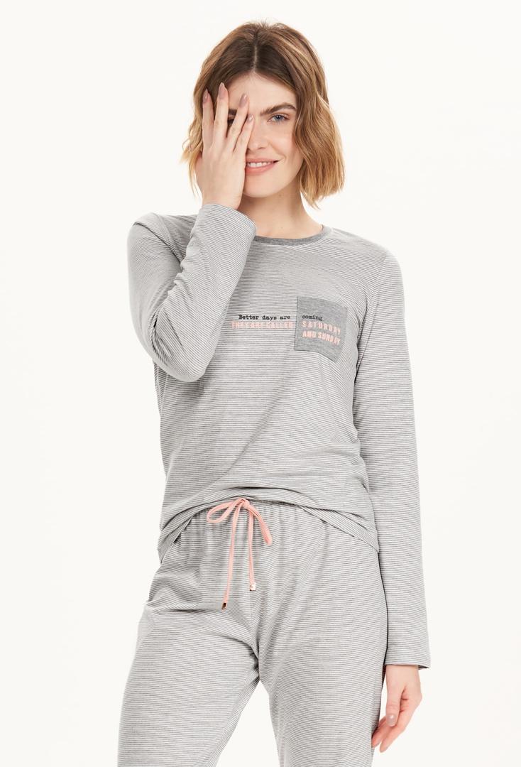 Pijama Manga Longa Feminino Listras Cor com Amor