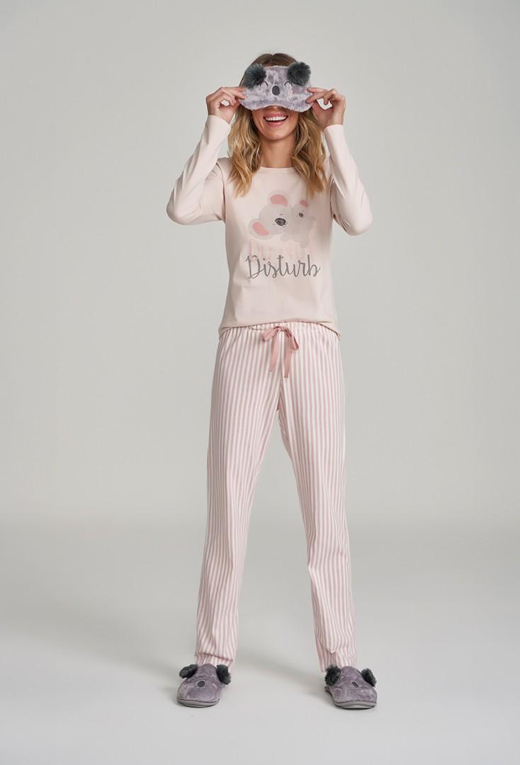 Pijama Manga Longa Retrô Listrado