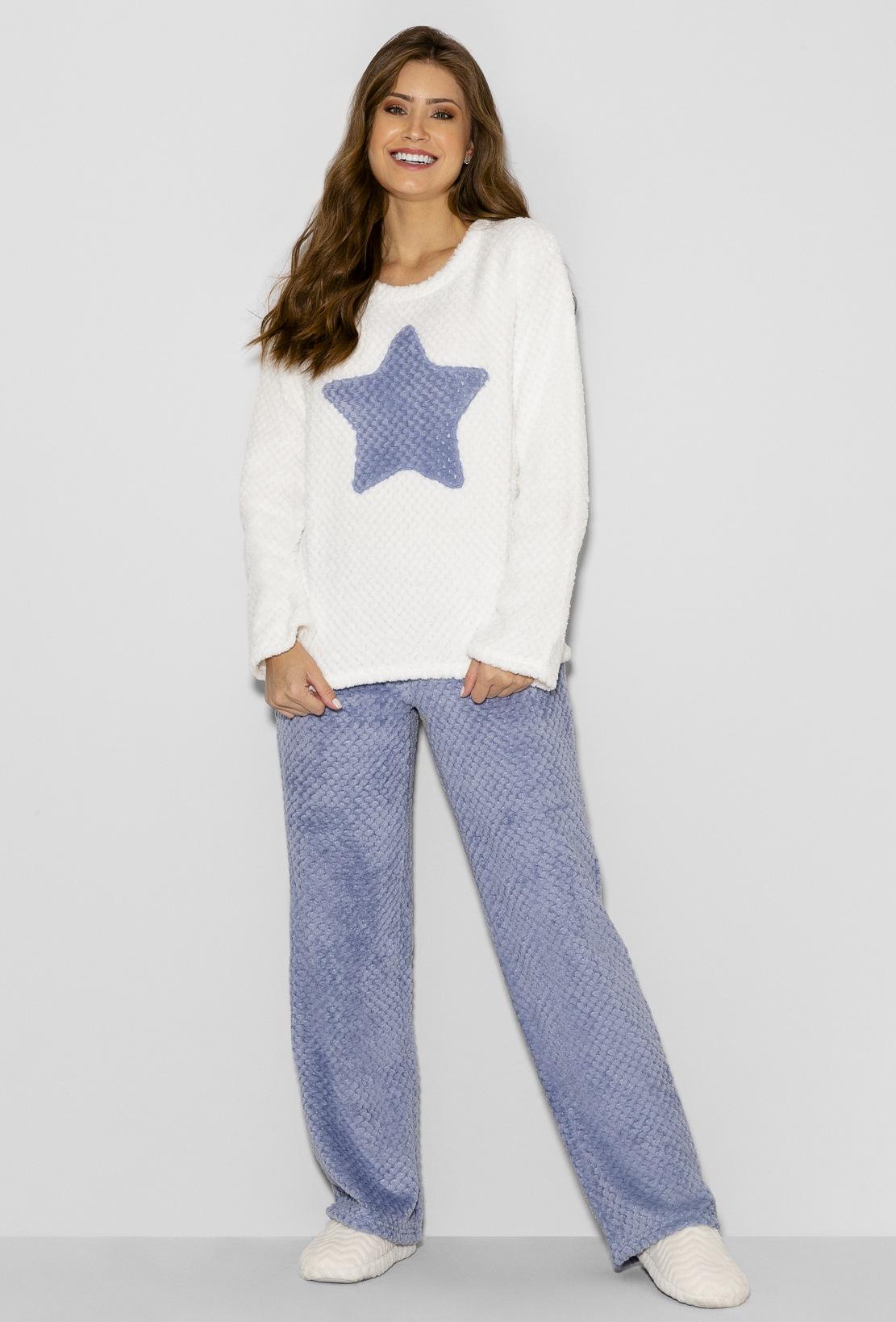 Pijama Manga Longa Soft Feminino Star Any Any