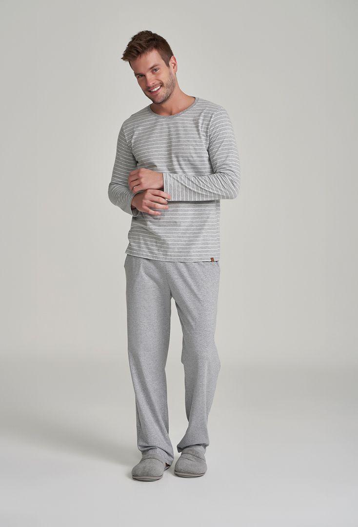 Pijama Masculino Cinza Manga Longa