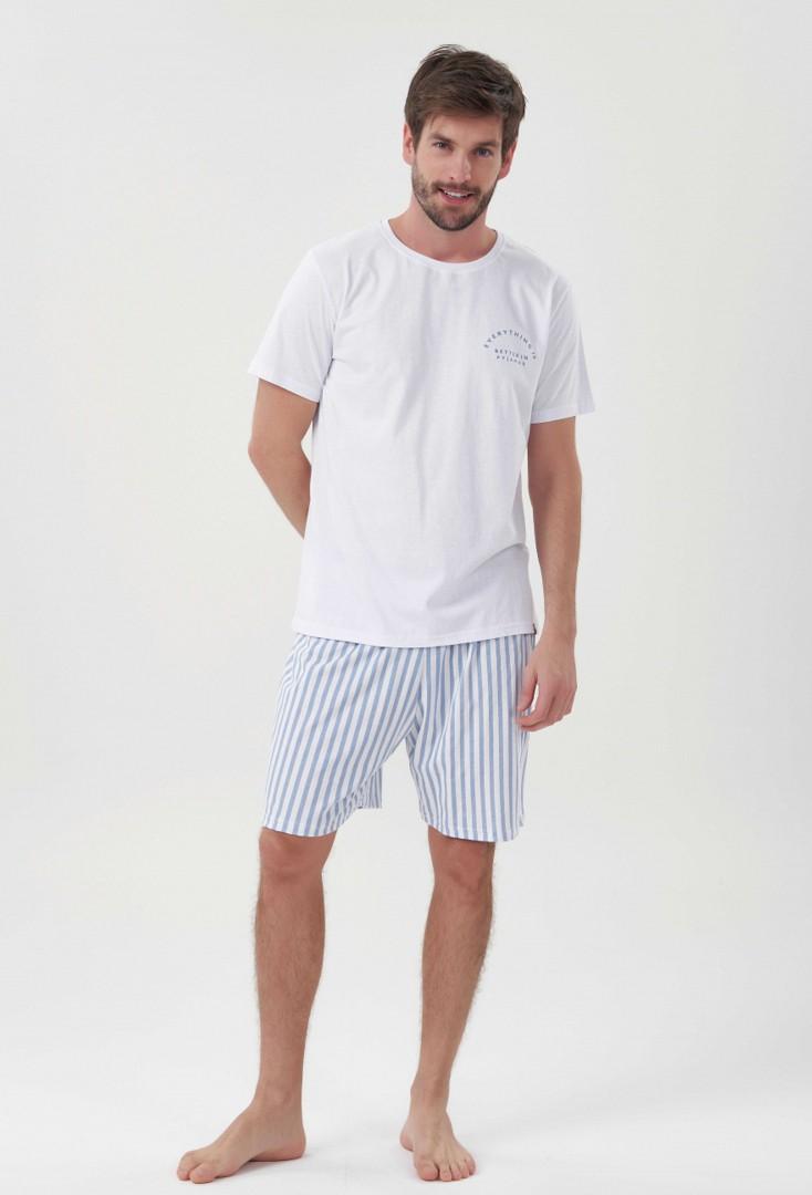 Pijama Masculino Manga Curta Stripes