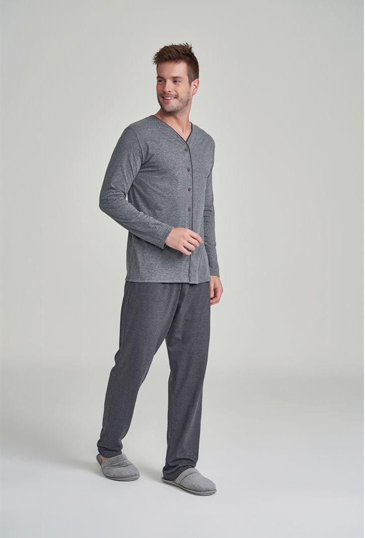 Pijama Masculino Manga Longa com Abertura