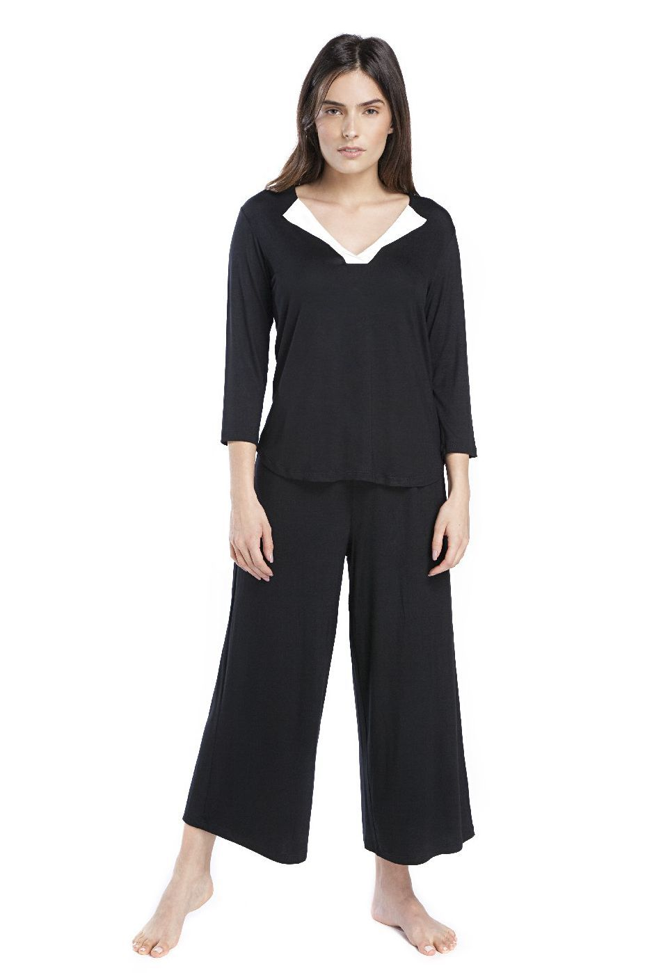 Pijama Pantacourt Feminino Preto