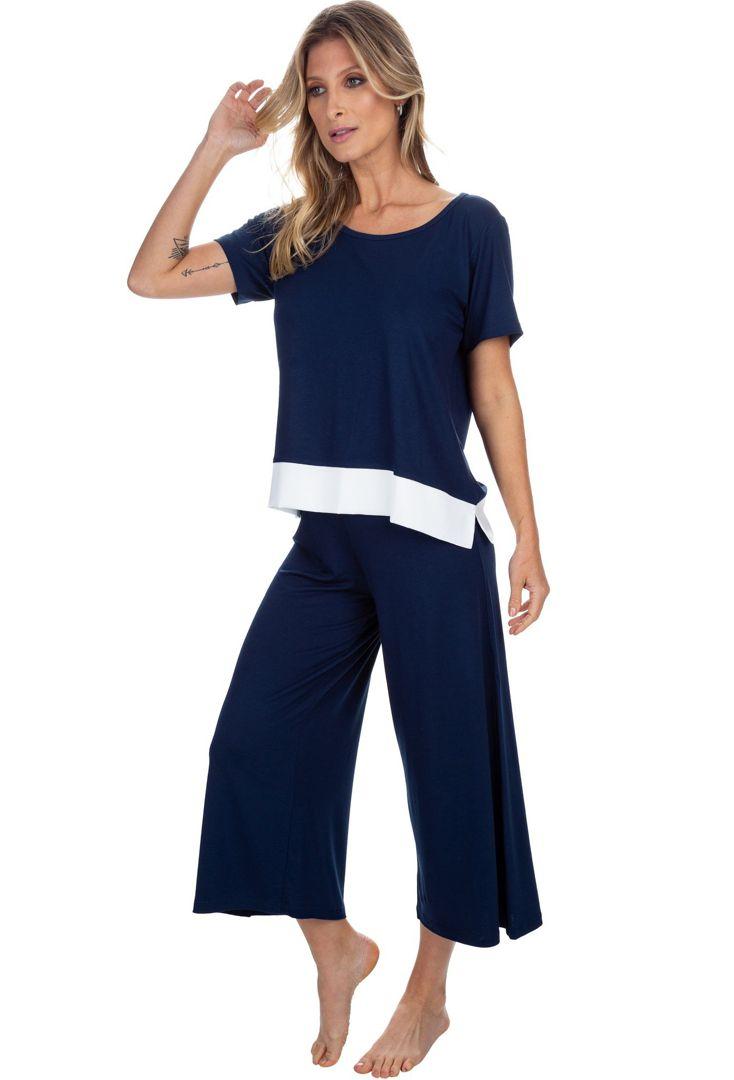 Pijama Pantacourt Marinho
