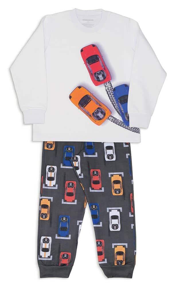 Pijama Pit Stop Carrinhos Infantil de Moletinho