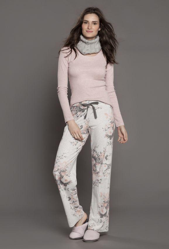 Pijama Rosa Calça Floral