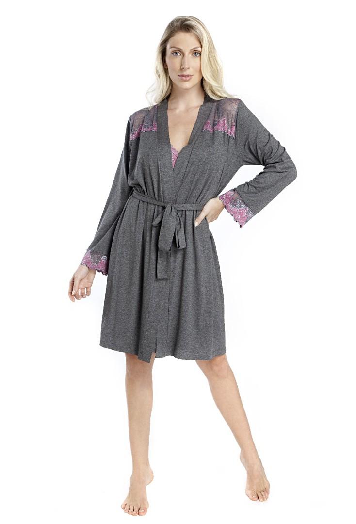 Robe Manga Longa Feminino com Renda