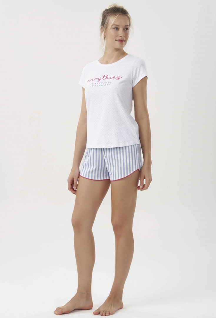 Short Doll com Manga Curta Feminino Stripes
