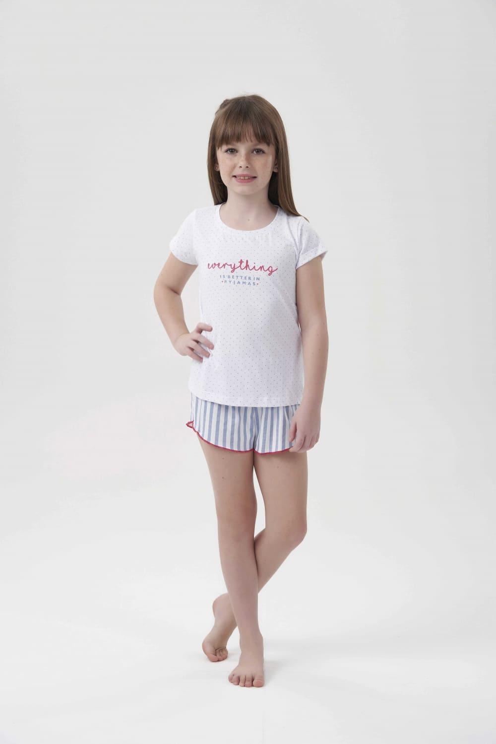 Short Doll Manga Curta Infantil Menina Stripes