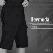 Bermuda Tática RipStop 8 Bolsos com Regulagem na Cintura SAFO - Preto
