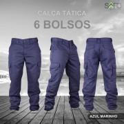 Calça Tática Cargo RipStop 6 Bolsos SAFO - Azul Marinho