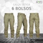 Calça Tática Cargo RipStop 6 Bolsos SAFO - Caqui
