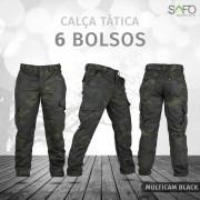 Calça Tática Cargo RipStop 6 Bolsos SAFO - Multicam Black