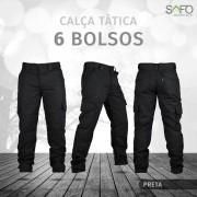 Calça Tática Cargo RipStop 6 Bolsos SAFO - Preto