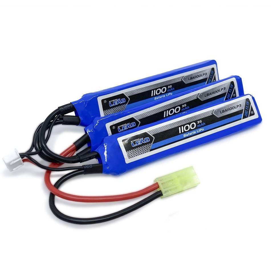 Bateria Lipo - 11.1V/3S (3 packs) - 1100mAh - 20C - LM