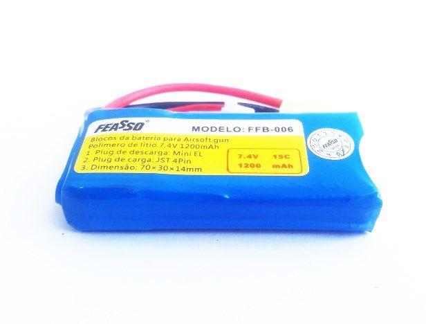 Bateria LiPo 7.4v 2s 1300 mAh / 15C - FFB 006 - PEQs e Amoeba 13