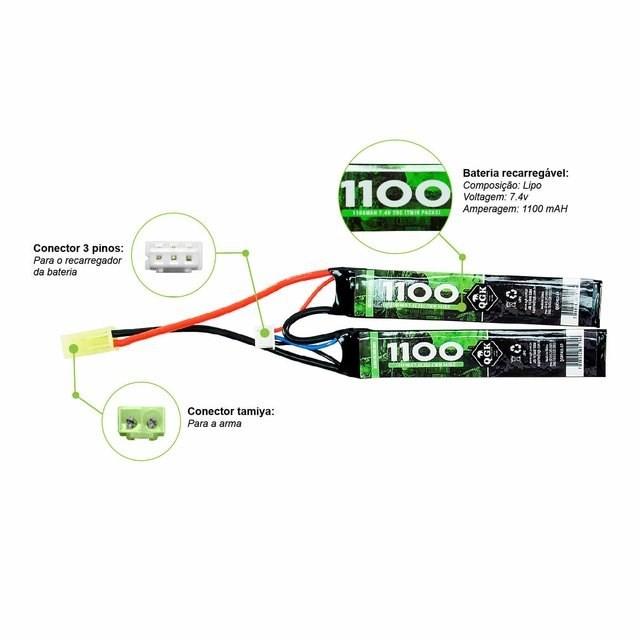 Bateria Lipo - 7.4V/2S (2 pack) - 1100mAh - 20C - QGK