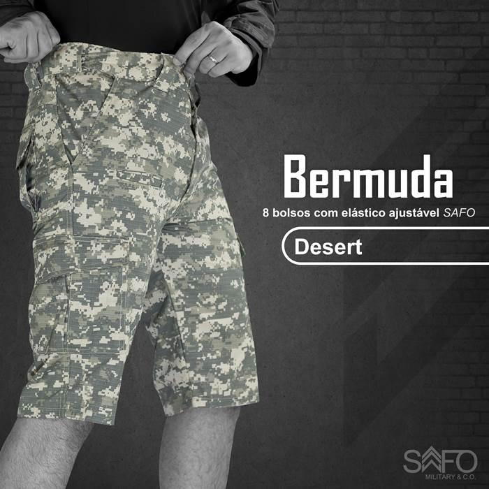 Bermuda Tática RipStop 8 Bolsos com Regulagem na Cintura SAFO - Desert Digital