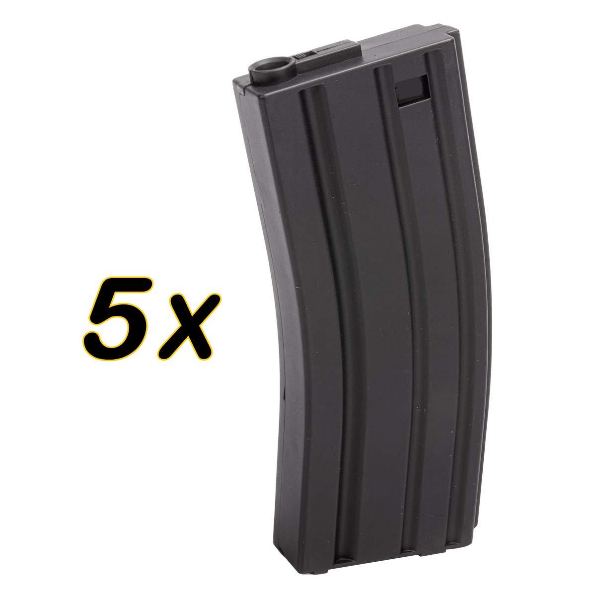 Caixa com 5 Magazines Midcap para M4/M16 em Polimero de 100 BBs - Rossi