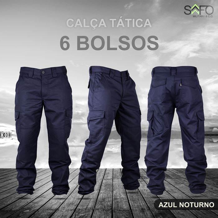 Calça Tática Cargo RipStop 6 Bolsos SAFO - Azul Noturno