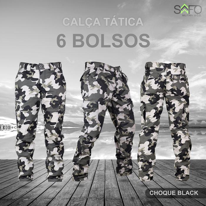 Calça Tática Cargo RipStop 6 Bolsos SAFO - Choque Black