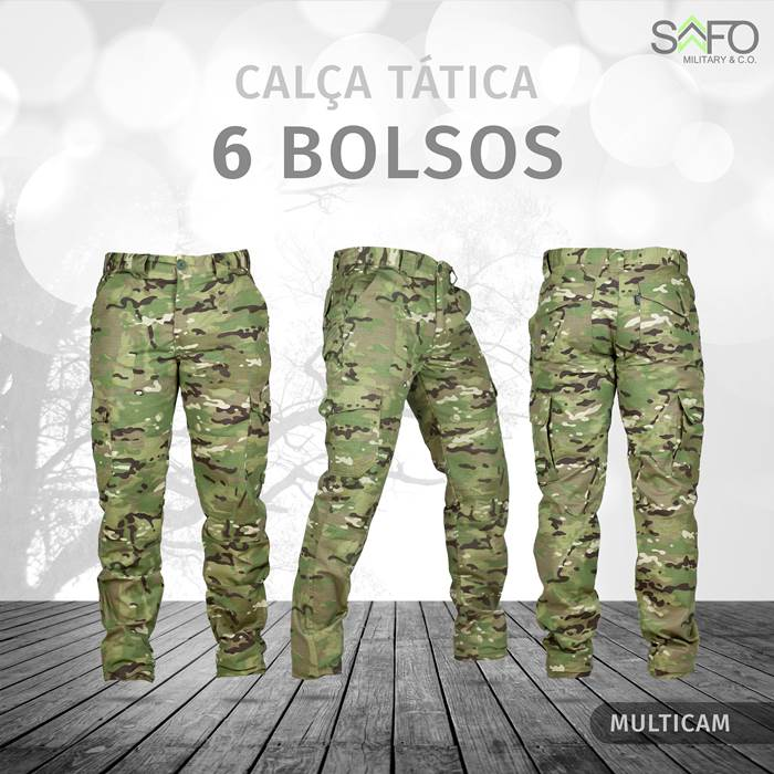 Calça Tática Cargo RipStop 6 Bolsos SAFO - Multicam