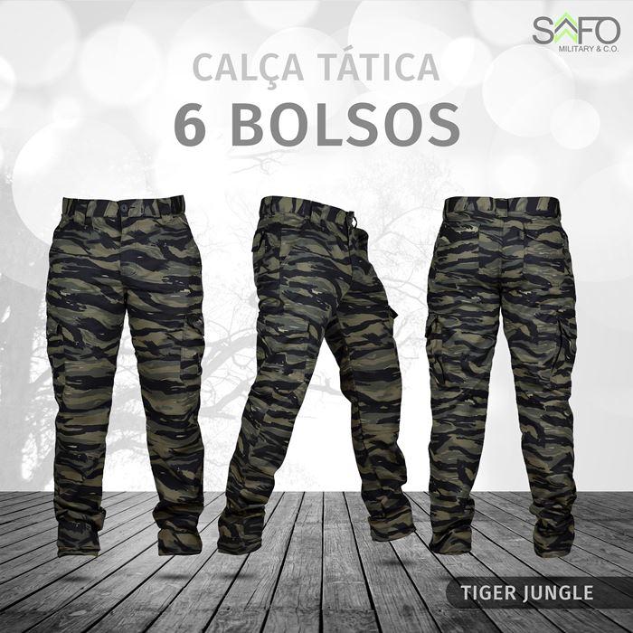 Calça Tática Cargo RipStop 6 Bolsos SAFO - Tiger Jungle