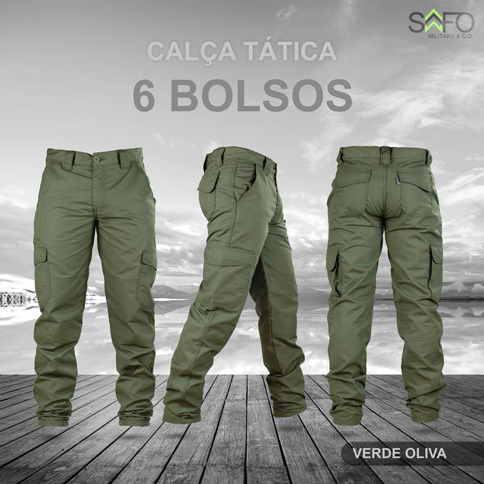 Calça Tática Cargo RipStop 6 Bolsos SAFO - Verde Oliva
