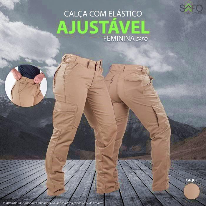 Calça Tática Feminina RipStop 7 Bolsos com Regulagem na Cintura SAFO - Caqui