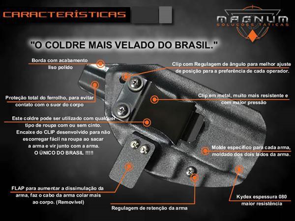 Coldre Velado Kydex Magnum Slim Glock G25 / G19 / G23