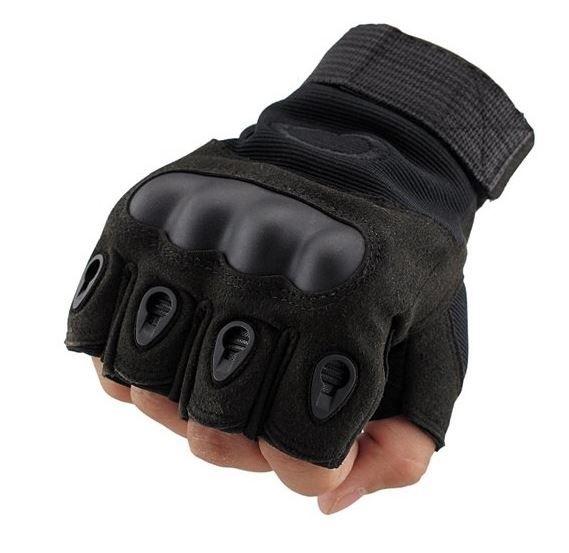 Luva Tática com Proteção - Meio Dedo - Preta